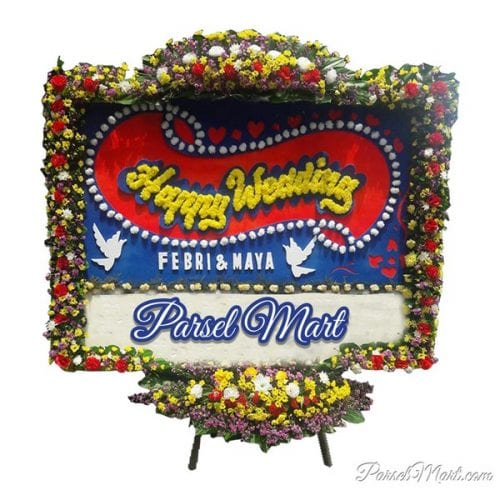 bunga-papan-happy-wedding-cikarang